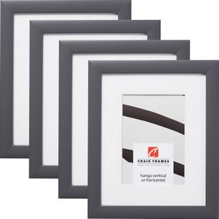 "Contemporary 1"", Matted Dark Grey Picture Frames - 4 Piece Set"