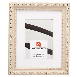 """Ancien Ornate 1.375"""", Matted Off-White Picture Frame"""