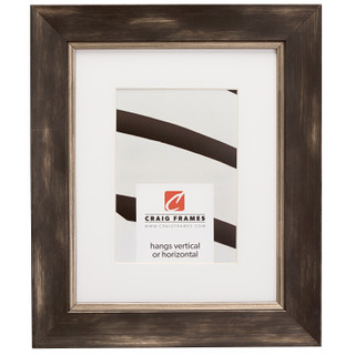 """Aristocrat 1.625"""", Matted Distressed Black and Pewter Picture Frame"""