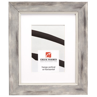 "Aristocrat 1.625"", Matted Distressed White and Silver Picture Frame"