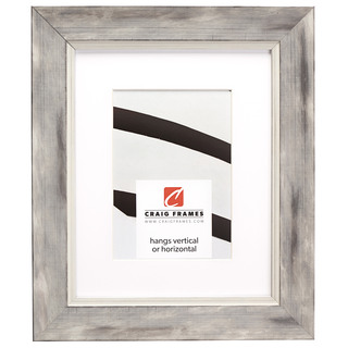 """Aristocrat 1.625"""", Matted Distressed White and Silver Picture Frame"""
