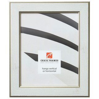"Crackle 1.5"", Cracked White and Gold Picture Frame"