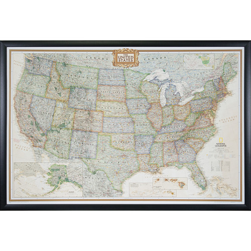 Wayfarer Executive Usa Push Pin Travel Map Craig Frames - Us-travel-map