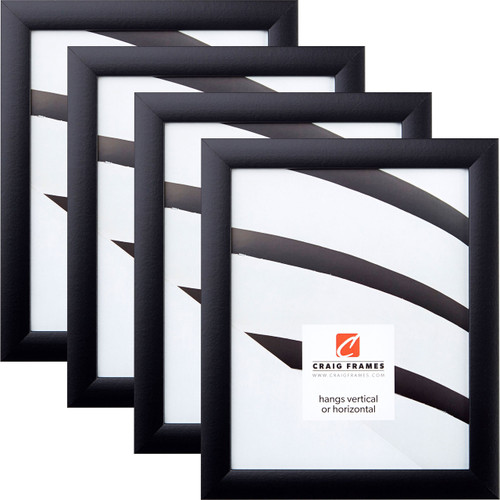 """Contemporary 1"""", Gallery Black Picture Frames - 4 Piece Set"""