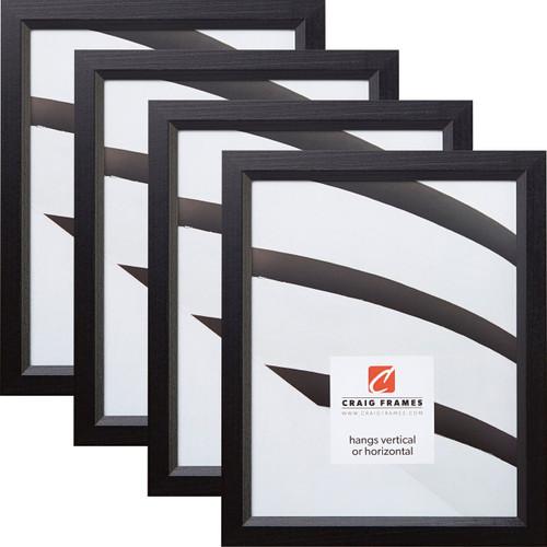 """Economy .875"""", Ebony Hardwood Picture Frames - 4 Piece Set"""