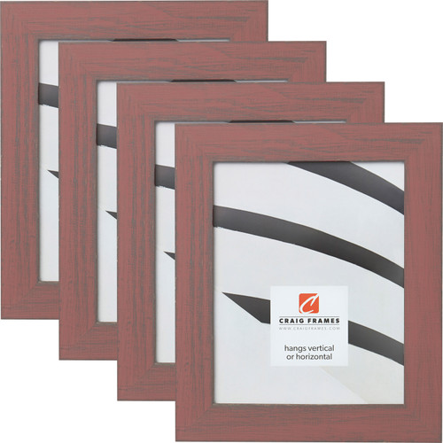 """Jasper 1.5"""", Faded Red Weathered Picture Frames - 4 Piece Set"""