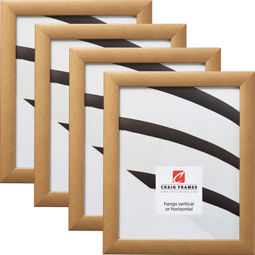 """Contemporary 1"""", Distressed Gold Picture Frames - 4 Piece Set"""
