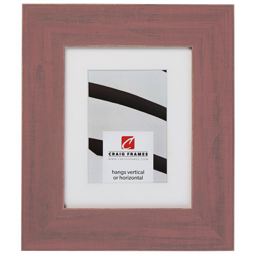 """Jasper Wide 2.5"""", Rustic Faded Red Matted Picture Frame"""