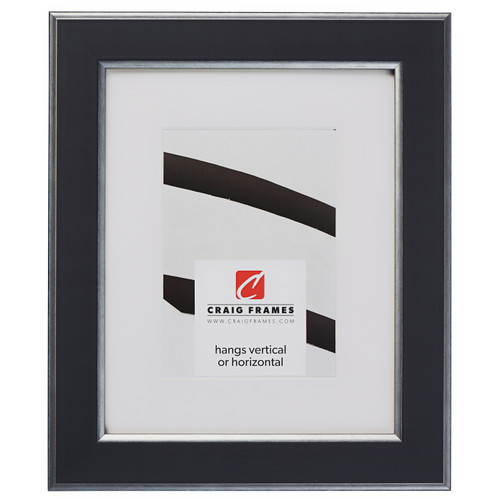 """Crackle 1.5"""", Black and Silver Matted Picture Frame"""