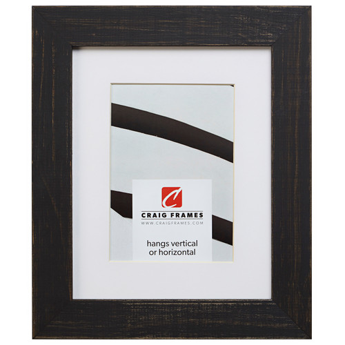 """Jasper 1.5"""", Country Charcoal Black Matted Picture Frame"""