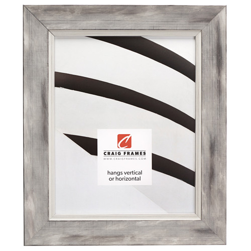 """Aristocrat 1.625"""", Distressed White and Silver Picture Frame"""