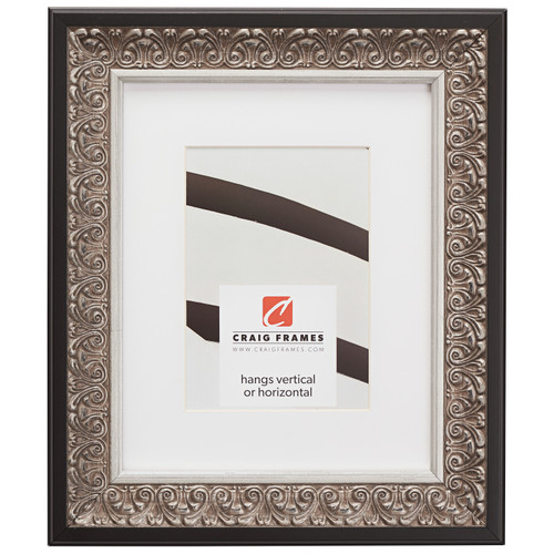 """Furio 1.75"""", Matted Ornate Silver and Black Picture Frame"""