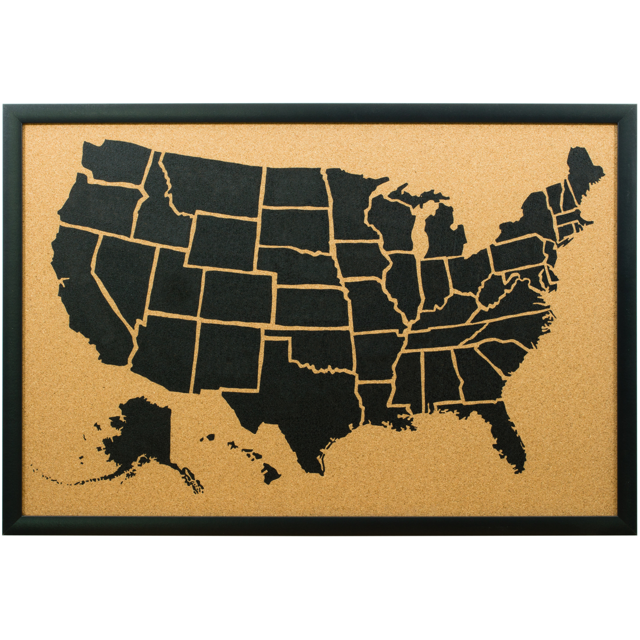 Wayfarer Corkboard Sm. Illustrated Push Pin Map - Craig Frames