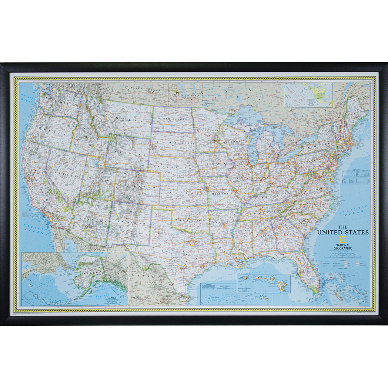 Wayfarer Classic Usa Push Pin Travel Map Craig Frames - National-geographic-us-map