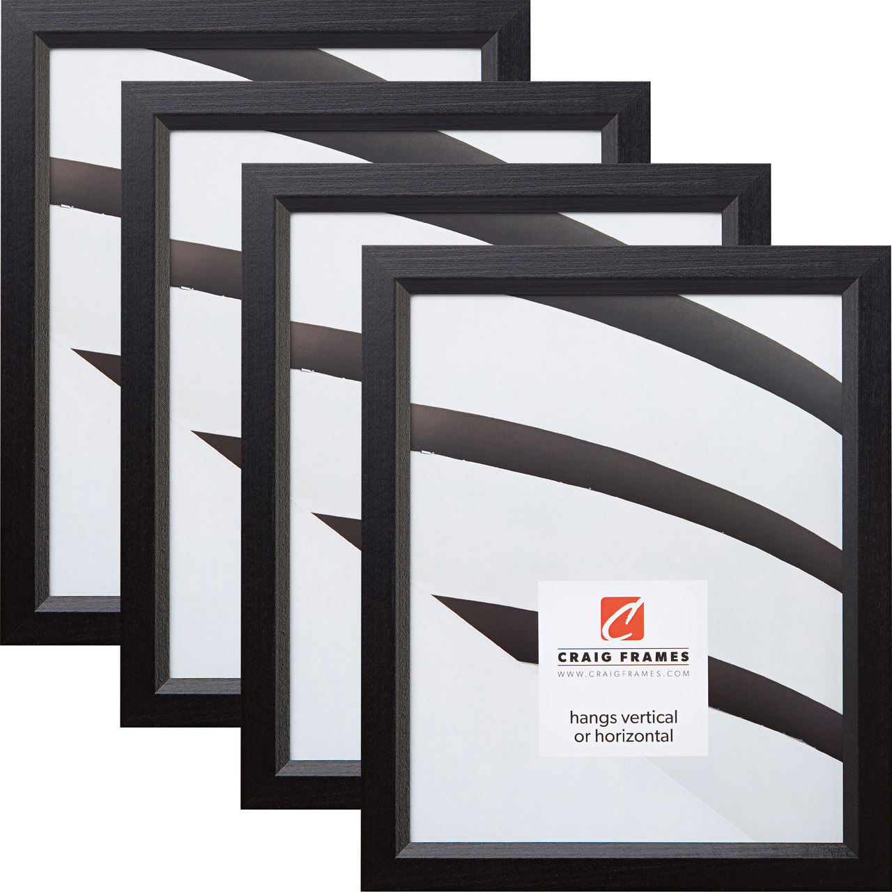 "1/"" Simple Black Hardwood Picture Frame Craig Frames Tulip Poplar"