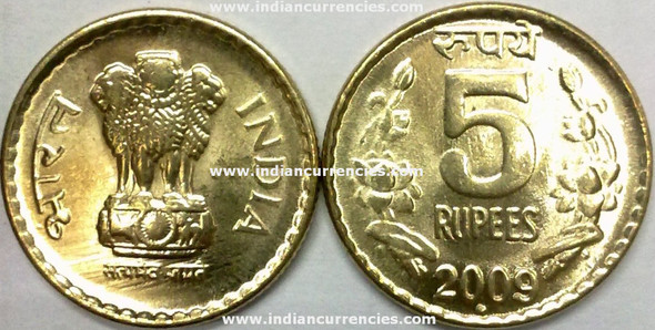 5 Rupees of 2009 - Noida Mint - Round Dot