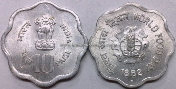 10 Paise of 1982 - World Food Day - Hyderabad Mint