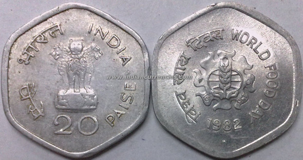 20 Paise of 1982 - World Food Day - Hyderabad Mint