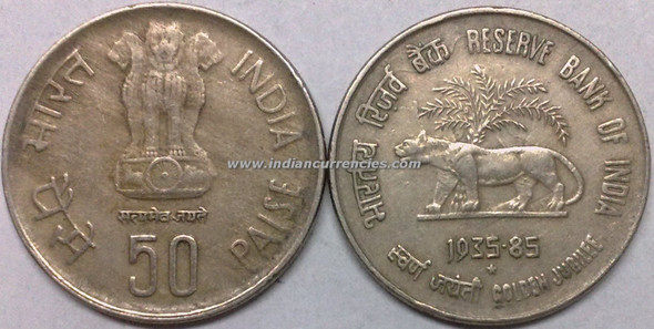 50 Paise of 1985 - Reserve Bank Of India (Golden Jubilee) - Hyderabad Mint