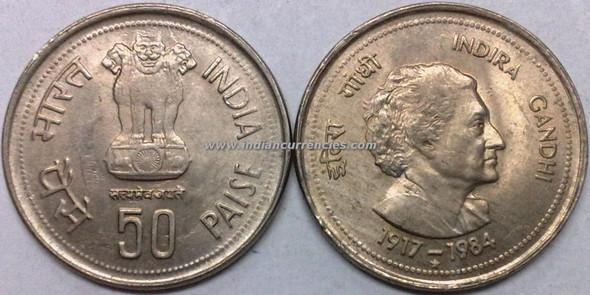 50 Paise of 1985 - Indira Gandhi - Hyderabad Mint