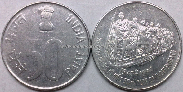50 Paise of 1997 - 50th Year Of Independence - Hyderabad Mint