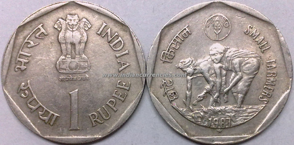 1 Rupee of 1987 - Small Farmers - Hyderabad Mint