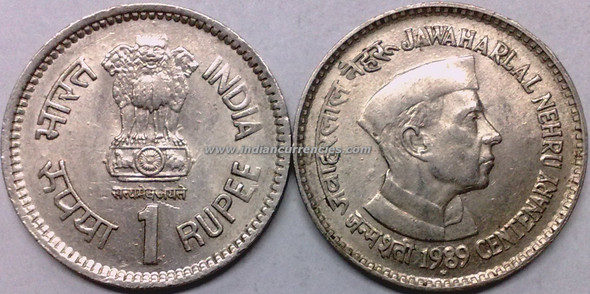 1 Rupee of 1989 - Jawaharlal Nehru Centenary - Hyderabad Mint