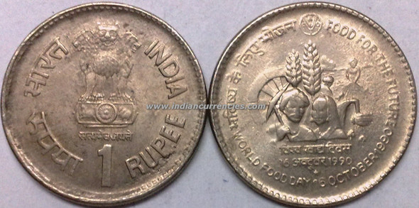 1 Rupee of 1990 - Food For The Future 16th October 1990 : World Food Day - Hyderabad Mint