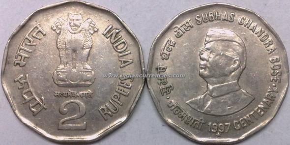 2 Rupees of 1997 - Subhas Chandra Bose Centenary - Hyderabad Mint