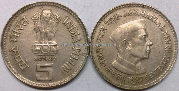 5 Rupees of 1989 - Jawaharlal Nehru Centenary - Hyderabad Mint