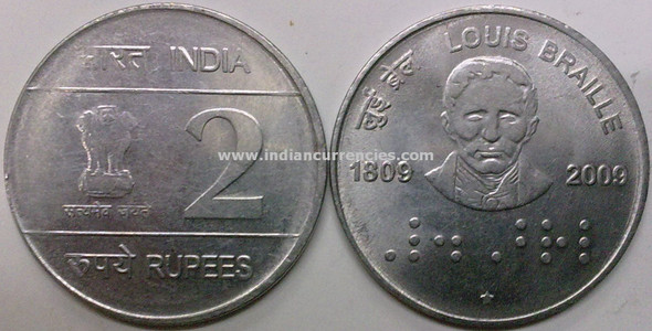 2 Rupees of 2009 - Louis Braille 1809-2009 - Hyderabad Mint