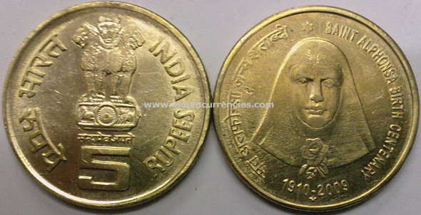5 Rupees of 2009 - Saint Alphonsa Birth Centenary 1910-2009 - Hyderabad Mint