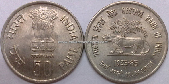50 Paise of 1985 - Reserve Bank Of India (Golden Jubilee) - Mumbai Mint
