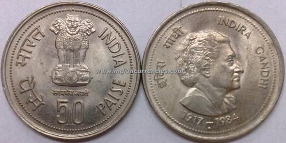 50 Paise of 1985 - Indira Gandhi - Mumbai Mint