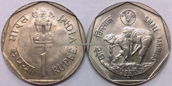 1 Rupee of 1987 - Small Farmers - Mumbai Mint