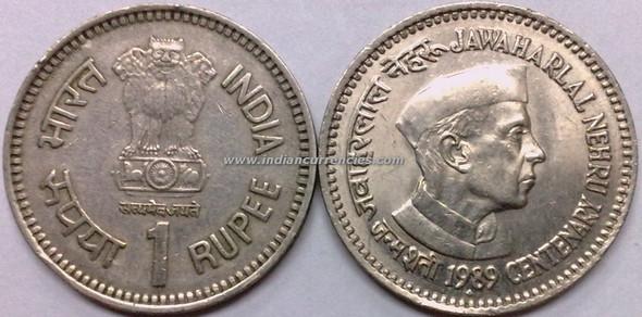 1 Rupee of 1989 - Jawaharlal Nehru Centenary - Mumbai Mint