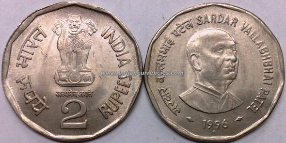 2 Rupees of 1996 - Sardar Vallabhbhai Patel - Mumbai Mint