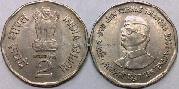 2 Rupees of 1997 - Subhas Chandra Bose Centenary - Mumbai Mint