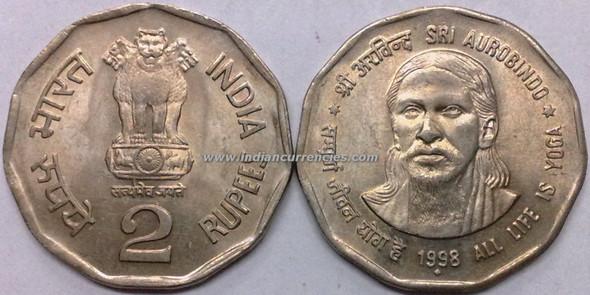 2 Rupees of 1998 - Sri Aurobindo (All Life Is Yoga) - Mumbai Mint