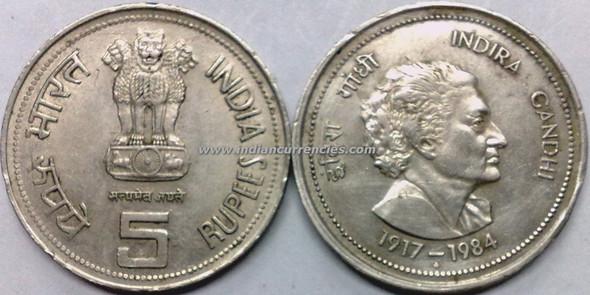 5 Rupees of 1984 - Indira Gandhi - Mumbai Mint