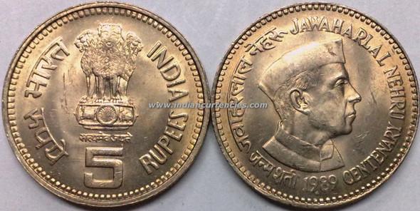 5 Rupees of 1989 - Jawaharlal Nehru Centenary - Mumbai Mint