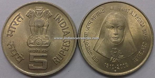 5 Rupees of 2009 - Saint Alphonsa Birth Centenary 1910-2009 - Mumbai Mint