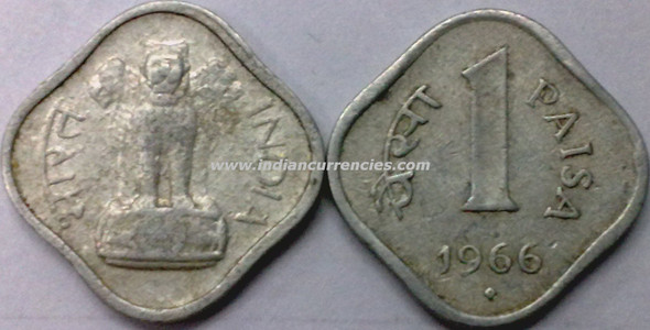 1 Paisa of 1966 - Hyderabad Mint - Dot in Diamond