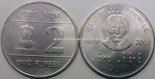 2 Rupees of 2009 - Louis Braille 1809-2009 - Mumbai Mint