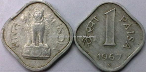 1 Paisa of 1967 - Hyderabad Mint - Dot in Diamond