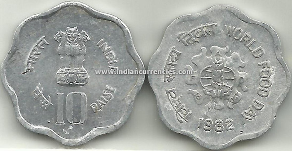 10 Paise of 1982 - World Food Day - Kolkata Mint