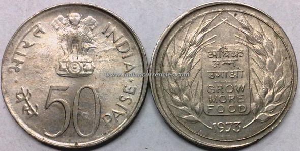 50 Paise of 1973 - Grow More Food - Kolkata Mint