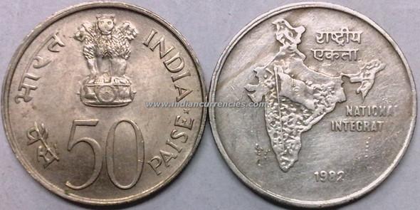 50 Paise of 1982 - National Integration - Kolkata Mint