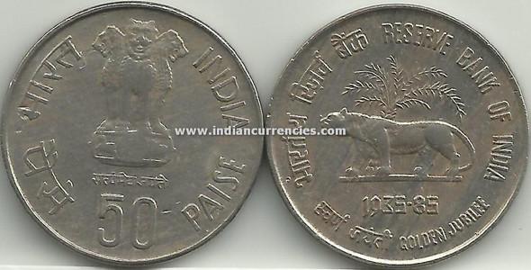 50 Paise of 1985 - Reserve Bank Of India (Golden Jubilee) - Kolkata Mint