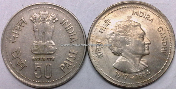 50 Paise of 1985 - Indira Gandhi - Kolkata Mint